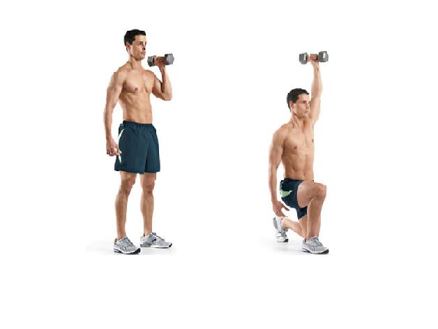 Bài tập giảm mỡ bụng cho nam bằng cách nâng tạ qua đầu